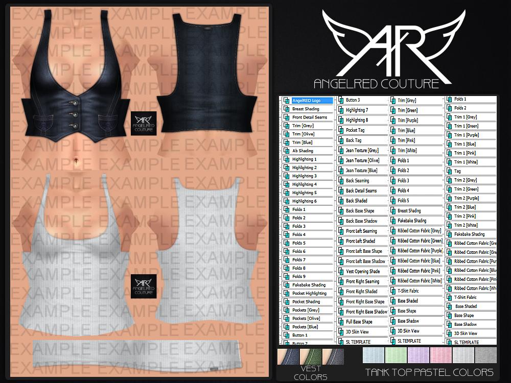 New angelred full perm miss tila tank top vest kit for Vest top template